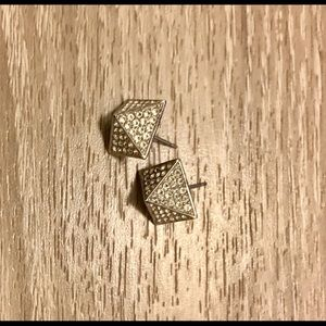 Vince Camuto Silver Pave Pyramid Earrings